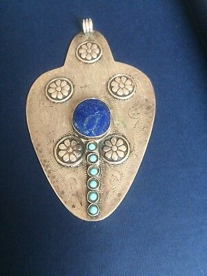 Islamic Art Antique Turkman Silver Lapis and Turquoise Pendent.