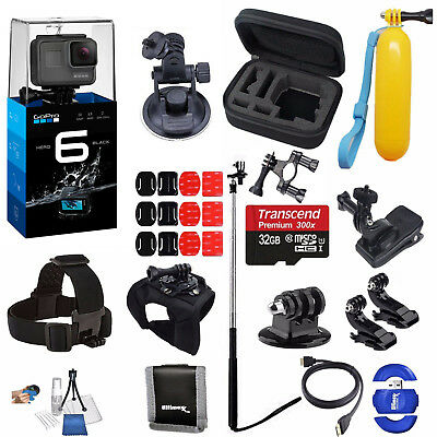 GoPro HERO 6 Black Sports Action Camera+32GB Deluxe Adventure Bundle *BRAND NEW*