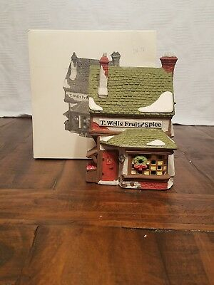 Dept. 56 Dickens Village Series T. Wells Fruit and Spice Shop Item#59242