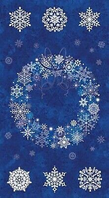 """Starry Night II"" Blue Wreath Panel by Northcott Fabrics-23"" x 44""-Silver Accent"