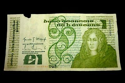 """IRELAND £1.00 PUNT NOTE """"QUEEN MEDB"""" Dated 09-07-85 ~ BIDS STARTING AT ONLY 05p"""
