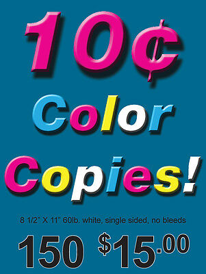 150 Single Sided Color Copies 60lb Paper