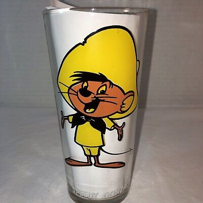 1973 Pepsi Collector Series Warner Bros Glass Speedy Gonzales White Letters Vtg