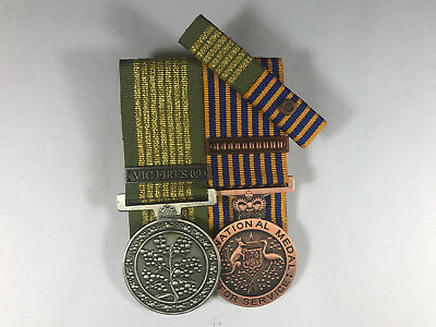 Set of 2 Replica National Emergency Medal National Medal + Clasp + Ribbon bar