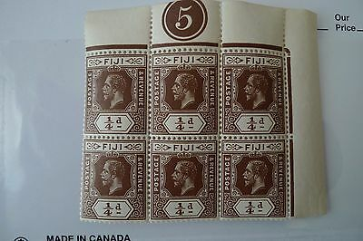 Fiji Plate Number 5 George V In Bloc Of 6 Stamps Mnh