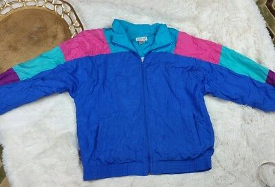 Vtg 80s 90s Lavon sport Windbreaker Neon Colorblock TRACK Jacket sz Large
