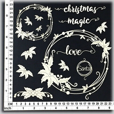Chipboard Embellishments for Scrapbooking - String Circles Holly 54068