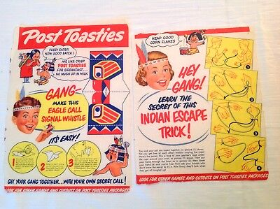 Post Toasties Cereal:  2 Wax Wrapper Box Backs Native American Games c.1955