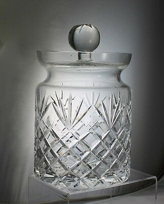 Cut Glass or Crystal Biscuit Barrel Large Jar with Lid