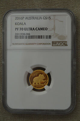 2016 Australia 1/10th Proof Gold Koala Coin - NGC PF70 Ultra Cameo With OMP
