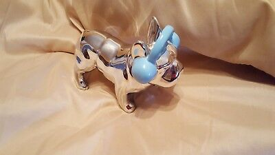 NWOT Chrome Ceramic French Bulldog Standing Statue with Country Blue Headphones