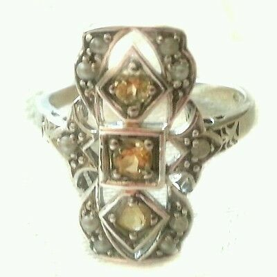 Vintage  antique  Art Deco  style  Natural Citrine   ring.