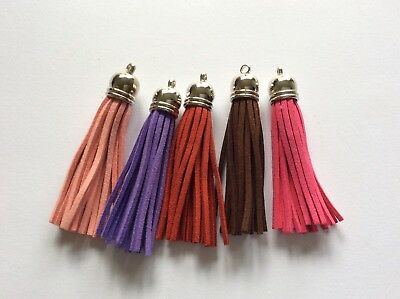 Suede Leather Tassel Red Purple Pink Brown Craft Sewing Embellishment 5 Pack