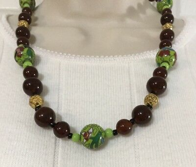 Vintage Green Cloisonne Amber Brown Art Glass Beaded Necklace