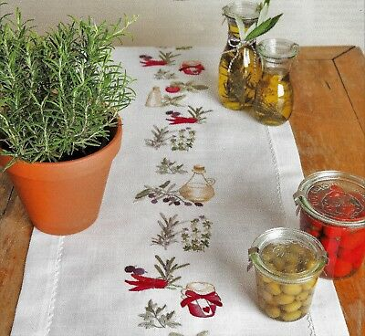 """HERBS"" Quality runner KIT to EMBROIDER.Stamped 40x150cm 100% cotton!"