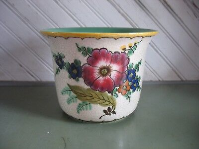 "Vtg 5"" Royal Gouda Zuid Holland Handpainted Floral Planter Cachepot Vase Bowl"