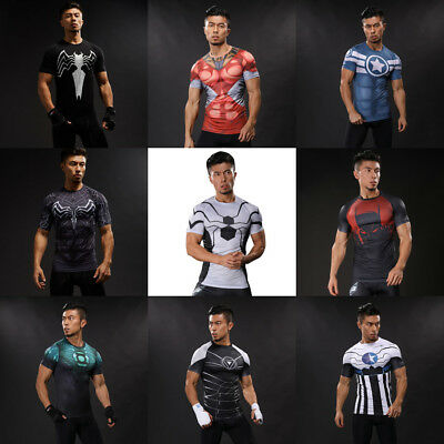Men Superhero Spiderman T-shirt Compression Short Sleeve Gym Sport Jersey Casual