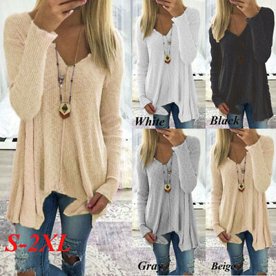 US Women Fashion Long Sleeve V-neck Pure Color Sexy Loose Knitted Tops (S-XXL)