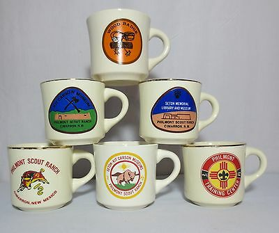 Boy Scout BSA Mugs Cups Philmont Scout Ranch Lot of 6 USA Vintage Gold Rim