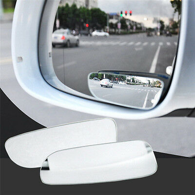 2Pcs WHITE Universal Car 360° Wide Angle Convex Rear Side View Blind Spot Mirror