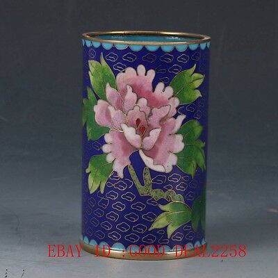 Chinese Exquisite Cloisonne Hand-painted Flower Brush Pots JTL018