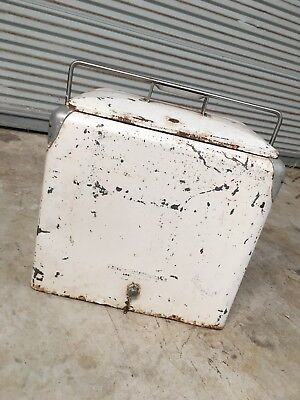 Progress Refrigerator Co. Vintage Cooler White with Sandwich Tray and Drain Tap