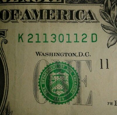 Fancy Serial Number Repeater/Book Ends $1 Dollar Bill Series 2013, #211 30 112