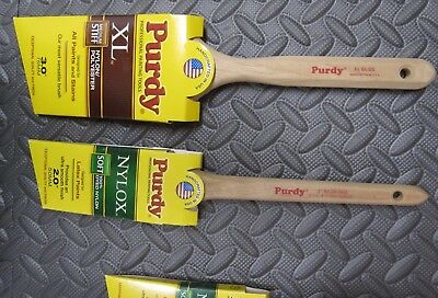"""Purdy NEW 3"""" XL GLIDE Angled 2"""" Nylox Dale Sash Trim Used 1.5"""" Lot of 3 Brushes"""