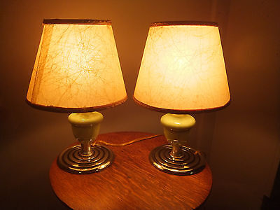 """Art Deco Pair of Lamps with Funky Fiberglas Shades 12"""" Tall"""