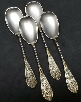 "Set 4 German 800 Silver w/Gold Highlights 5.5"" Spoons by M.J.Ruckert 61g No Mono"