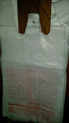 """80 Small T-Shirt HDPE Thank You Plastic Shopping Grocery Bags 7""""x 5""""x 15"""""""