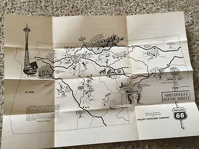 PHILLIPS 66 PETROLEUM COMPANY HIGHWAY ROAD MAP VINTAGE Seattle Worlds Fair