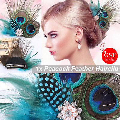 1X Peacock Pearl Feather Hairpin Hair Clip Crystal Party Wedding Headpiece DIY D