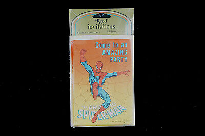Vintage Spider-Man Marvel 1978 Party Invitations New 8 Cards Envelopes C A Reed