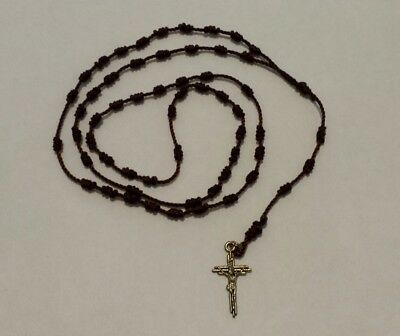 Religious Knotted Rosary With Cross Hand Made With Nylon Cord - Brown