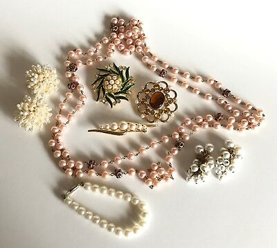 Vintage Jewelry Lot of 7 Pearl Mixed Necklace Bracelet Earrings Brooches Pins