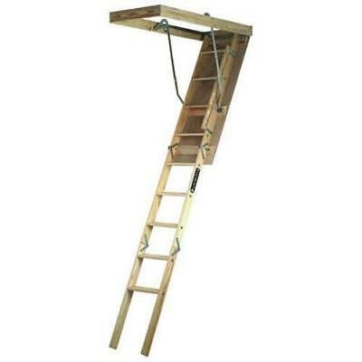 Louisville Ladder S224P 250-Pound Duty Rating Wooden Attic Fits 7-Foot to...