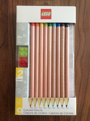 1 Pack of 9 Lego Colored Pencils With 2 Toppers Coloured NEW