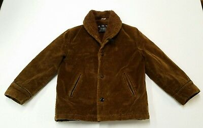 Vintage Boys Size 10 Corduroy Sherpa Jacket Coat Brown 1970s 70s Sears Boyswear