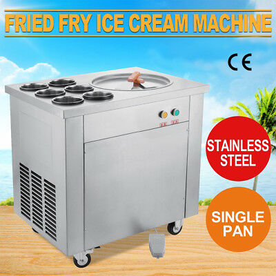 EU Gebratenes Fried Ice Cream Machine Softeismaschine Roll Making 1 pan 6 boxes
