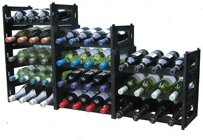 48 Bottle EziRak BLACK Modular Wine Rack - Free Postage Australia wide