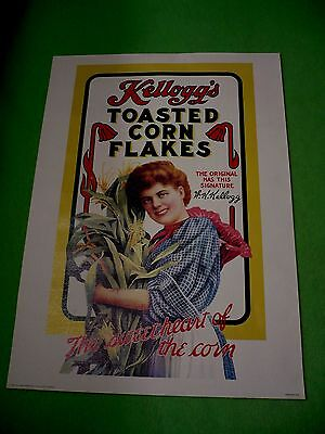 Vintage 1982 reproduction of an earlier Kellogg's Corn Flakes food advertisement