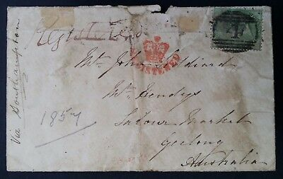 RARE 1857 Great Britain Registered Cover ties 1/- green QV stamp to Australia