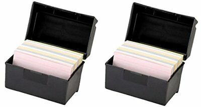 Oxford 01351 Plastic Index Card Flip Top File Box Holds 300 3 x 5 Cards, Matte B