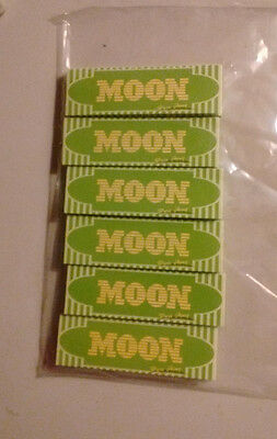 "5 Books (250 Leaves) Moon ""Green"" 1.0 Hemp Tobacco Rolling Papers"