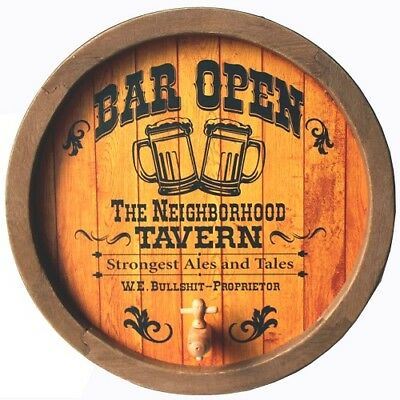 BAR OPEN ROUND BARREL END WALL SIGN with tap - Man Cave Garage Dad's Xmas