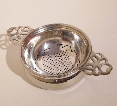 Vintage Silver Plated Tea Strainer & Drip Bowl Cup India Antique Plate
