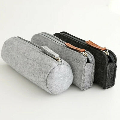 Round Square Felt Gray Makeup Cosmetic Bag Brush Pen Pencil Case Pouch Box