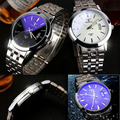 UK#Fashion Mens Stainless Steel Band Date Quartz Sport Mens Analog WristWatch