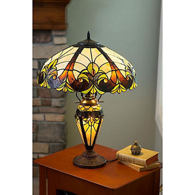Tiffany Style Double Lit Stained Glass Table Lamp Base (Shade Not Included) New